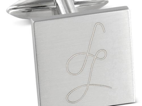 Manschettenknöpfe Edelstahl quadratisch Gravur individuell Vereinswappen